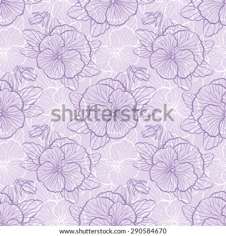 Seamless floral pattern with flowers of pansy - stock vector