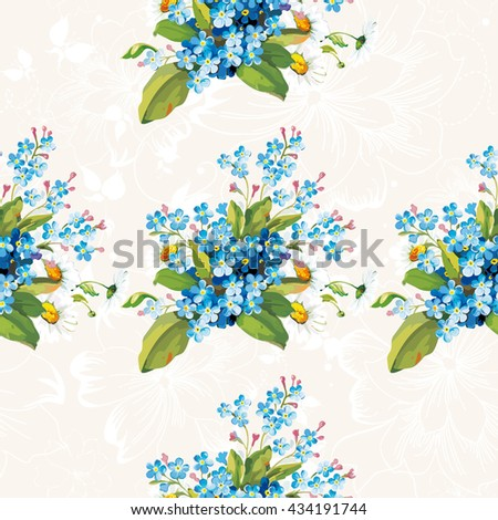 Seamless floral pattern with forget-me-not Vector Illustration EPS8 - stock vector