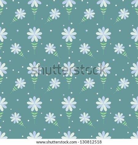 Seamless floral pattern with geometric stylized flowers. Can be used to fabric design, wallpaper, decorative paper, web design, etc. Swatches of seamless patterns included in the file. - stock vector