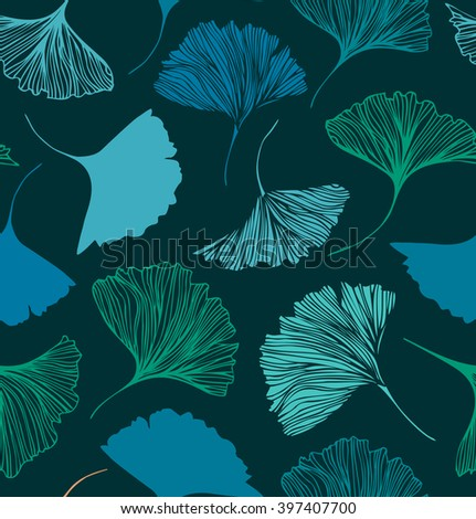 Seamless floral pattern with Ginkgo leaves. Vector decorative background - stock vector
