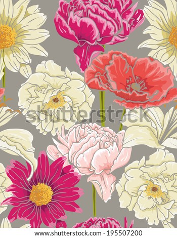 Seamless Floral Pattern With hand-drawn Flowers. Watercolor design  - stock vector