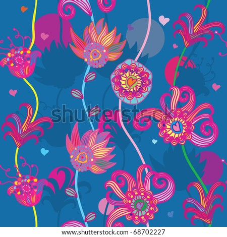 seamless floral pattern with hearts - stock vector