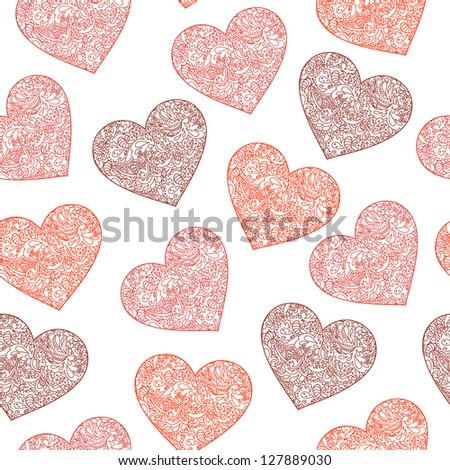 Seamless floral pattern with hearts in vector.