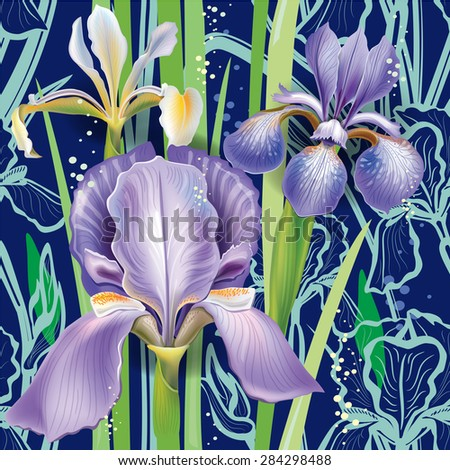Seamless floral pattern with irises - stock vector