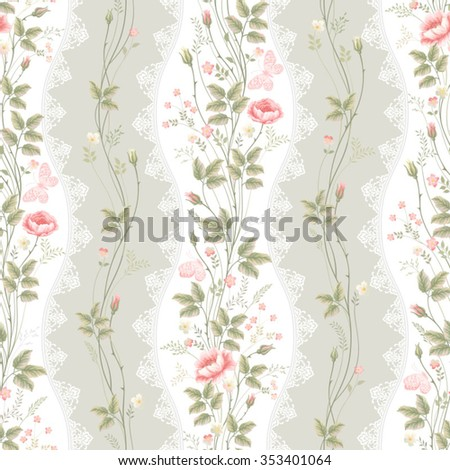 seamless floral pattern with lace and floral borders - stock vector