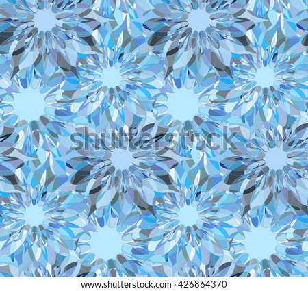 Seamless floral pattern with light blue guilloche flowers. Sapphire crystal seamless guilloche pattern or background. Vector illustration - stock vector