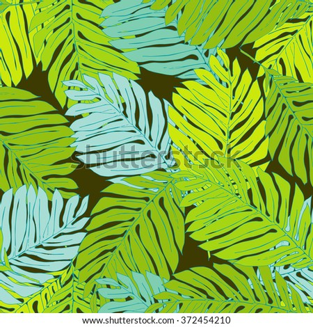 Seamless floral pattern with light green and light blue leaves