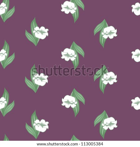 Seamless floral pattern with lily of the valley - stock vector