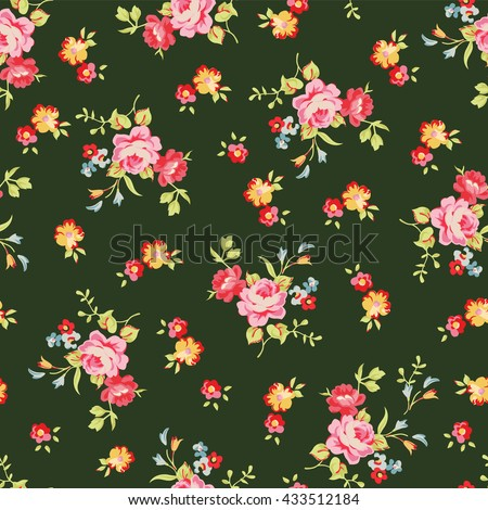 Seamless floral pattern with little pink roses, on black background. - stock vector