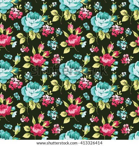 Seamless floral pattern with little pink roses, vector illustration in vintage style on green fonts - stock vector
