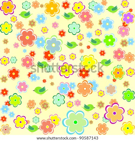 seamless floral pattern with many flowers. vector background - stock vector