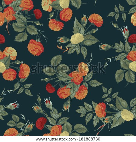 Seamless floral pattern with of orange and white roses. Vector background.
