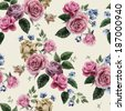 Seamless floral pattern with of pink roses on light background, watercolor. Vector illustration. - stock