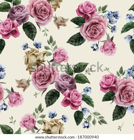 Seamless floral pattern with of pink roses on light background, watercolor. Vector illustration. - stock vector