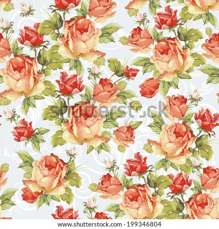 Seamless floral pattern with of pink roses with ornament. Elegance vector illustration - stock vector