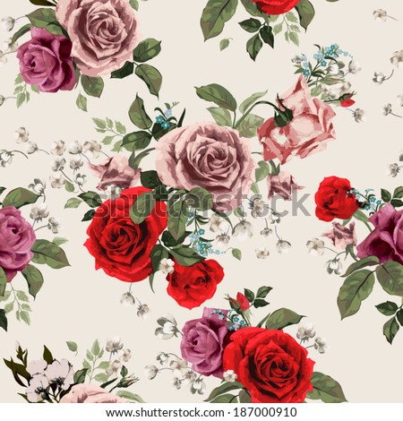 Seamless floral pattern with of red and pink roses on light background, watercolor. Vector illustration. - stock vector