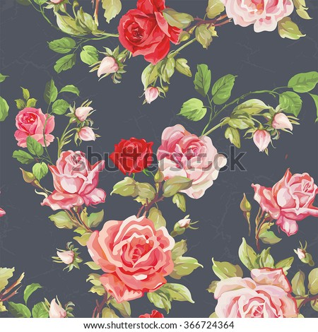 Seamless floral pattern with of red roses - stock vector