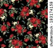 Seamless floral pattern with of red roses on black background. Vector illustration. - stock