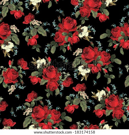 Seamless floral pattern with of red roses on black background. Vector illustration. - stock vector