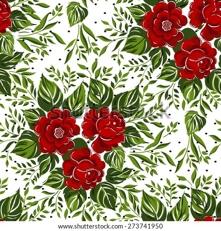 Seamless floral pattern with of red roses. Vector illustration. - stock vector