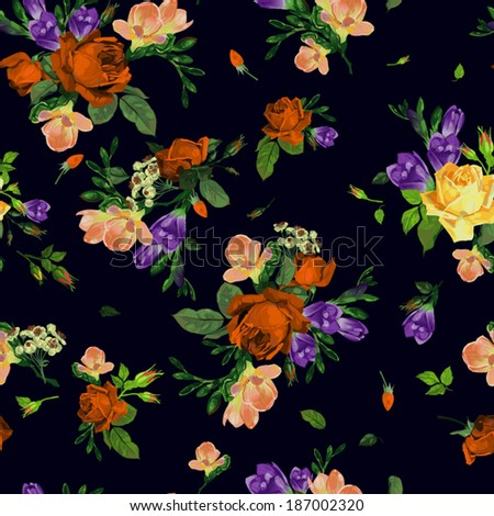 Seamless floral pattern with of roses and freesia, watercolor. Vector background. - stock vector