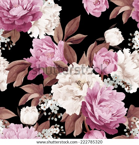 Seamless floral pattern with peonies, watercolor. Vector illustration. - stock vector