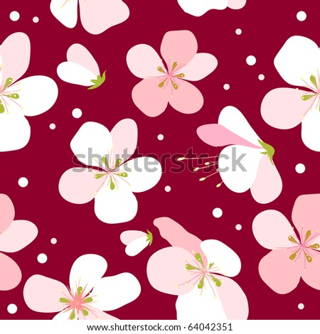 Seamless floral pattern with pink cherry flowers - stock vector
