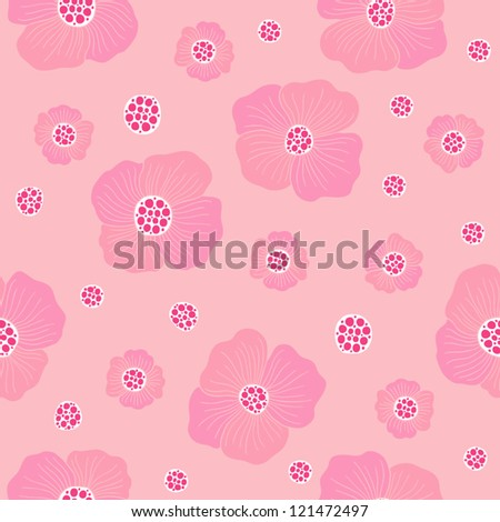 Seamless floral pattern with pink poppy flowers