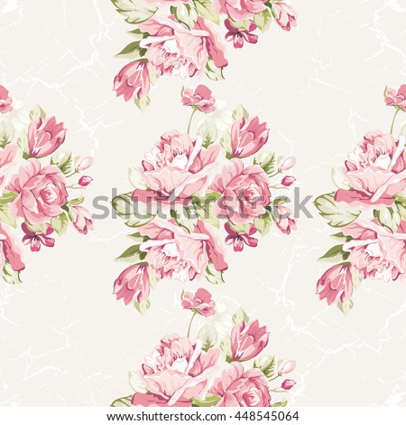 Seamless floral pattern with pink roses - stock vector