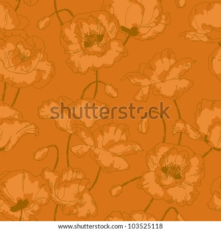 Seamless floral pattern with poppy flowers in vintage style and gold colors