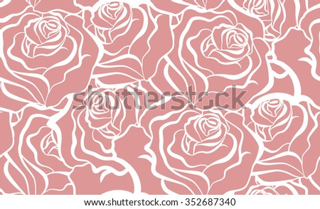 Seamless Floral Pattern With Red Flowers. Vector - stock vector