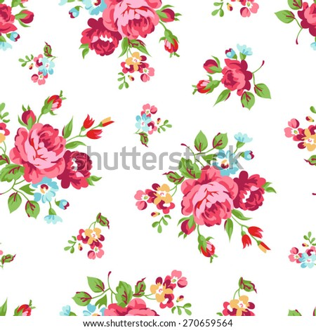 Seamless floral pattern with red rose - stock vector