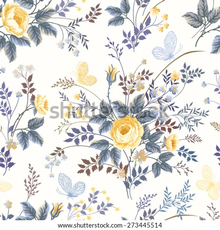 seamless floral pattern with roses and butterflies on white background - stock vector