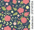 Seamless floral pattern with roses. EPS 10. No transparency. No gradients. - stock vector