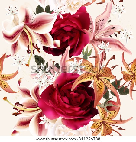 Seamless floral pattern with roses in watercolor style vector illustration - stock vector