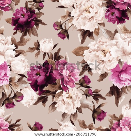 Seamless floral pattern with roses on light background, watercolor. Vector illustration. - stock vector