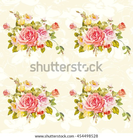 Seamless floral pattern with roses Vector Illustration EPS8  - stock vector