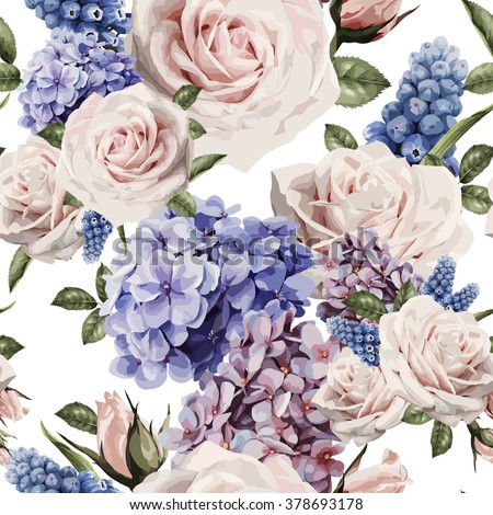 Seamless floral pattern with roses, watercolor. Vector illustration.  - stock vector