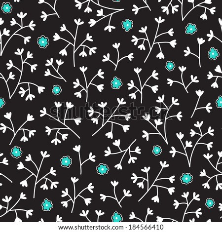 Seamless floral pattern with small flowers. Endless black background. Use for wallpaper, print, pattern fills, web page background. - stock vector