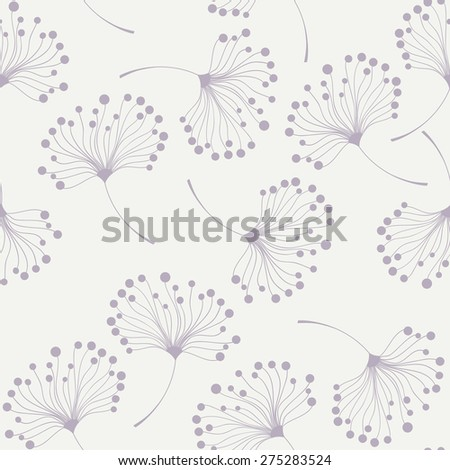 seamless floral pattern with stylized dandelions - stock vector