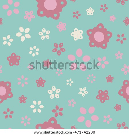 Seamless floral pattern with summer colored flowers