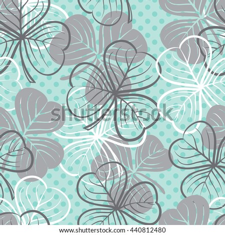 Seamless floral pattern with three leaf clover - stock vector