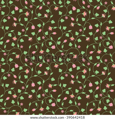 Seamless floral pattern with tiny pink flowers on brown. Vector illustration. - stock vector