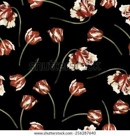 Seamless floral pattern with tulips,  watercolor. Vector illustration.  - stock vector