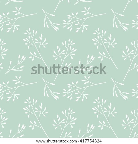 Seamless floral pattern with twigs. Vector illustration. - stock vector