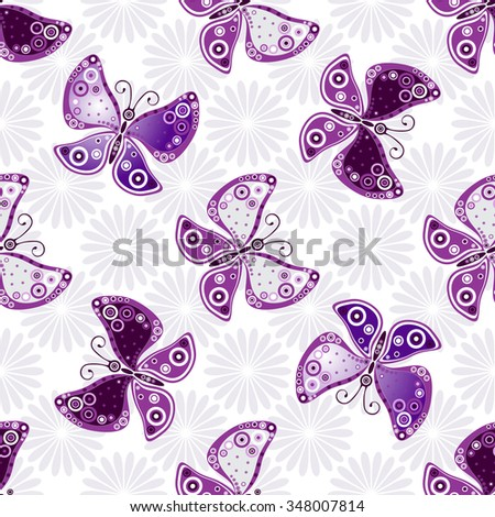 Seamless floral pattern with violet butterflies and flowers(vector) - stock vector