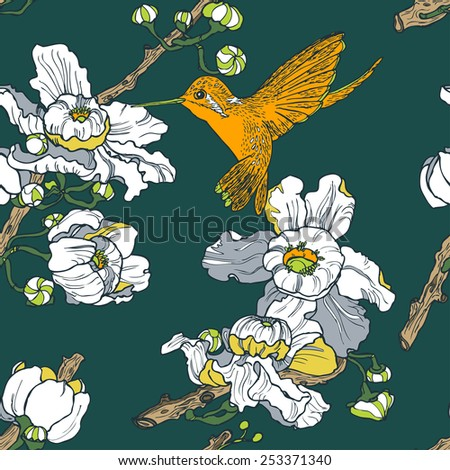 Seamless floral pattern with water lilies and birds in vector - stock vector