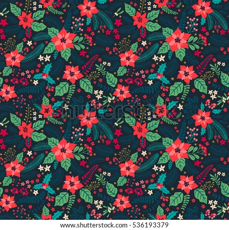 Seamless Floral Pattern Winter Plants Winter Stock Vector ...