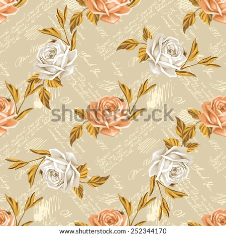 Seamless floral pattern with words, flower vector illustration. Elegance wallpaper with poppy on floral background. Decorative vintage vector illustration texture. Shabby chic rose. Hand write words  - stock vector