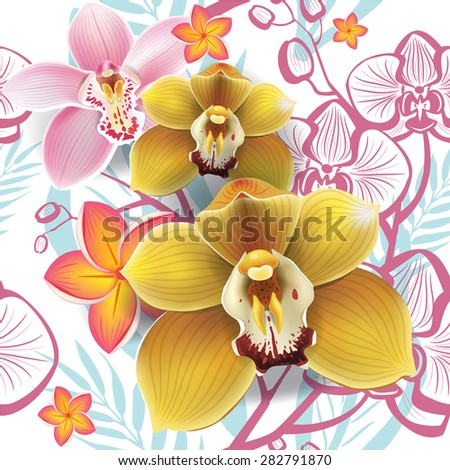 Seamless floral pattern with yellow orchid  - stock vector